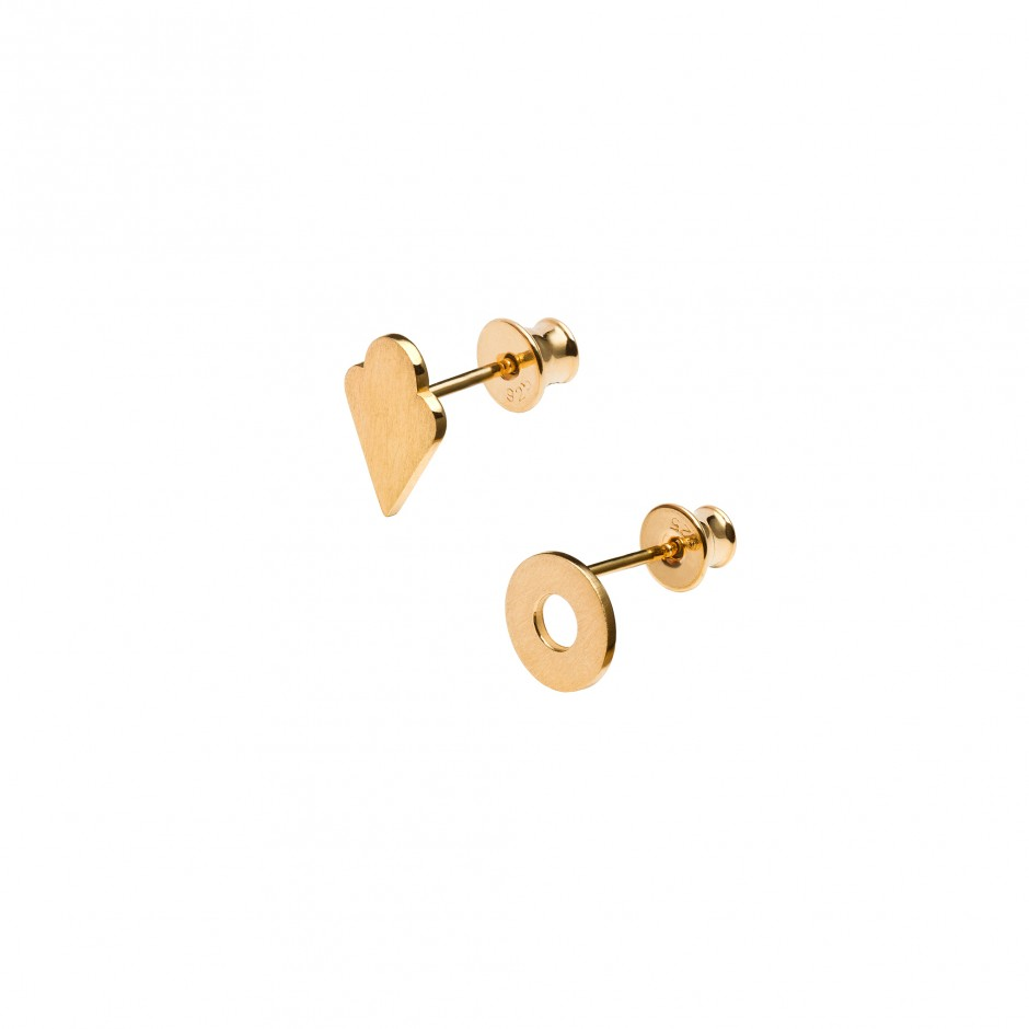 GOLD STUD EARRINGS 'DOUGHNUT + ICE CREAM'