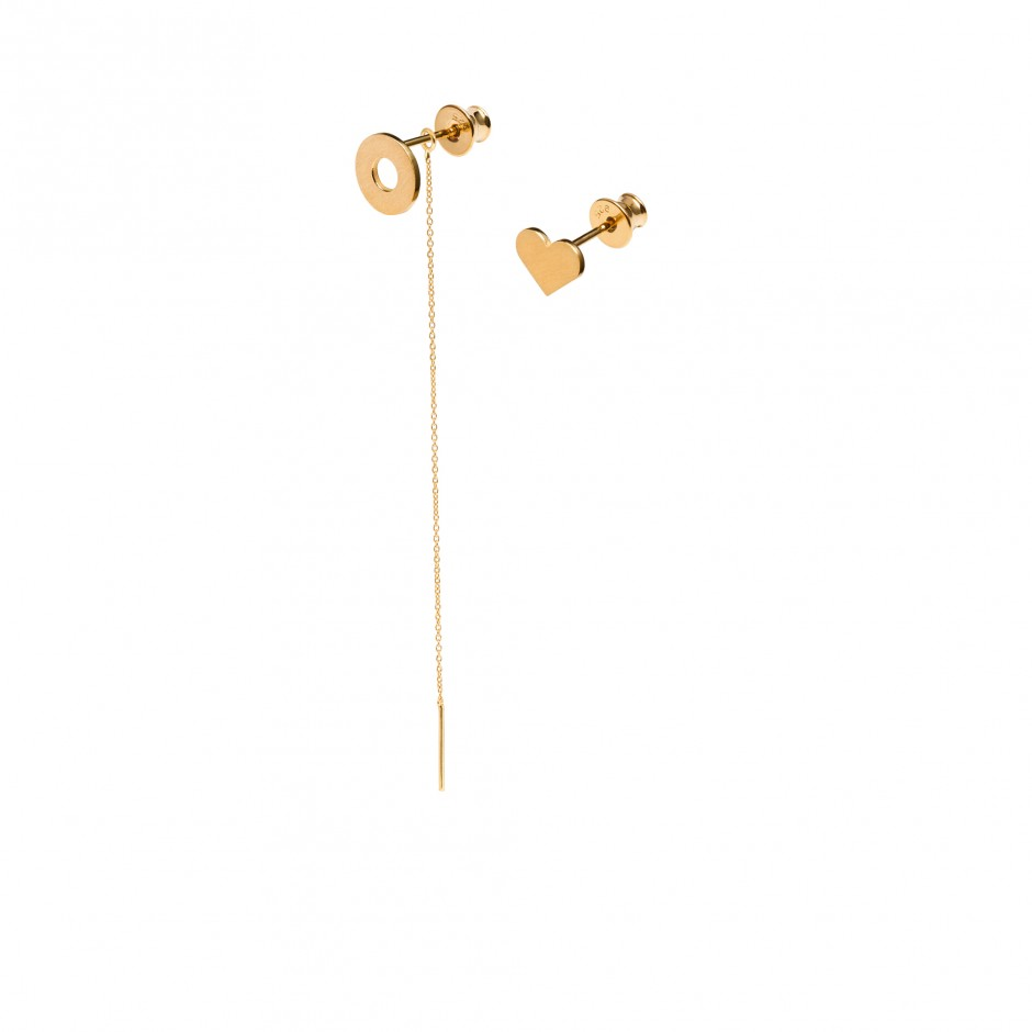 GOLD EARRINGS 'DOUGHNUT + HEART'