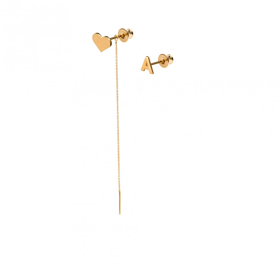 GOLD EARRINGS 'HEART + LETTER'