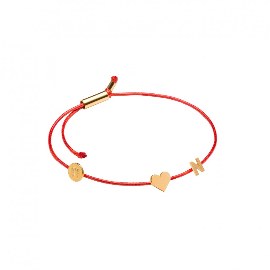 MEMORIES BRACELET 'HEART + LETTER' - GOLD