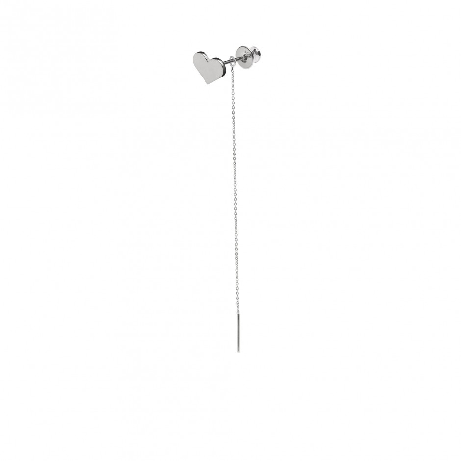 SILVER HEART EARRING WITH CHAIN