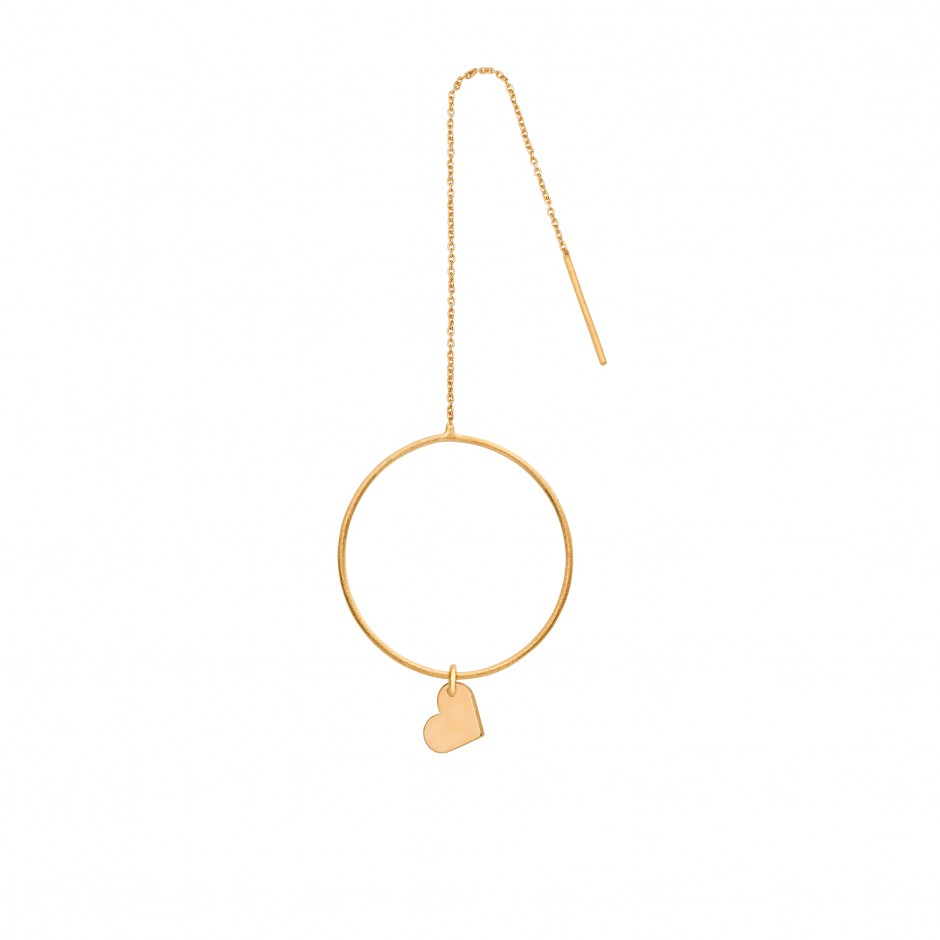LONG EARRING 'RING + CHAIN' IN GOLD
