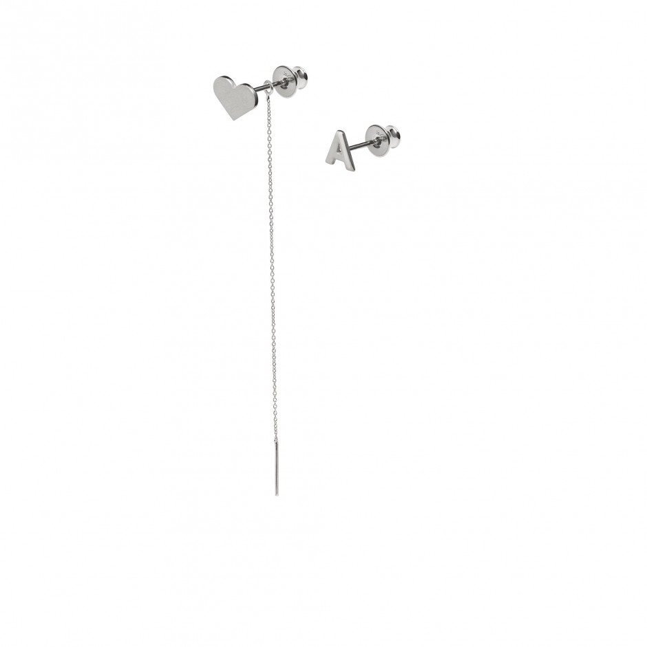 SILVER HEART EARRING WITH CHAIN and LETTER