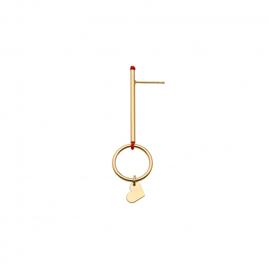 TUBE-RING EARRING 'LOVE' IN GOLD