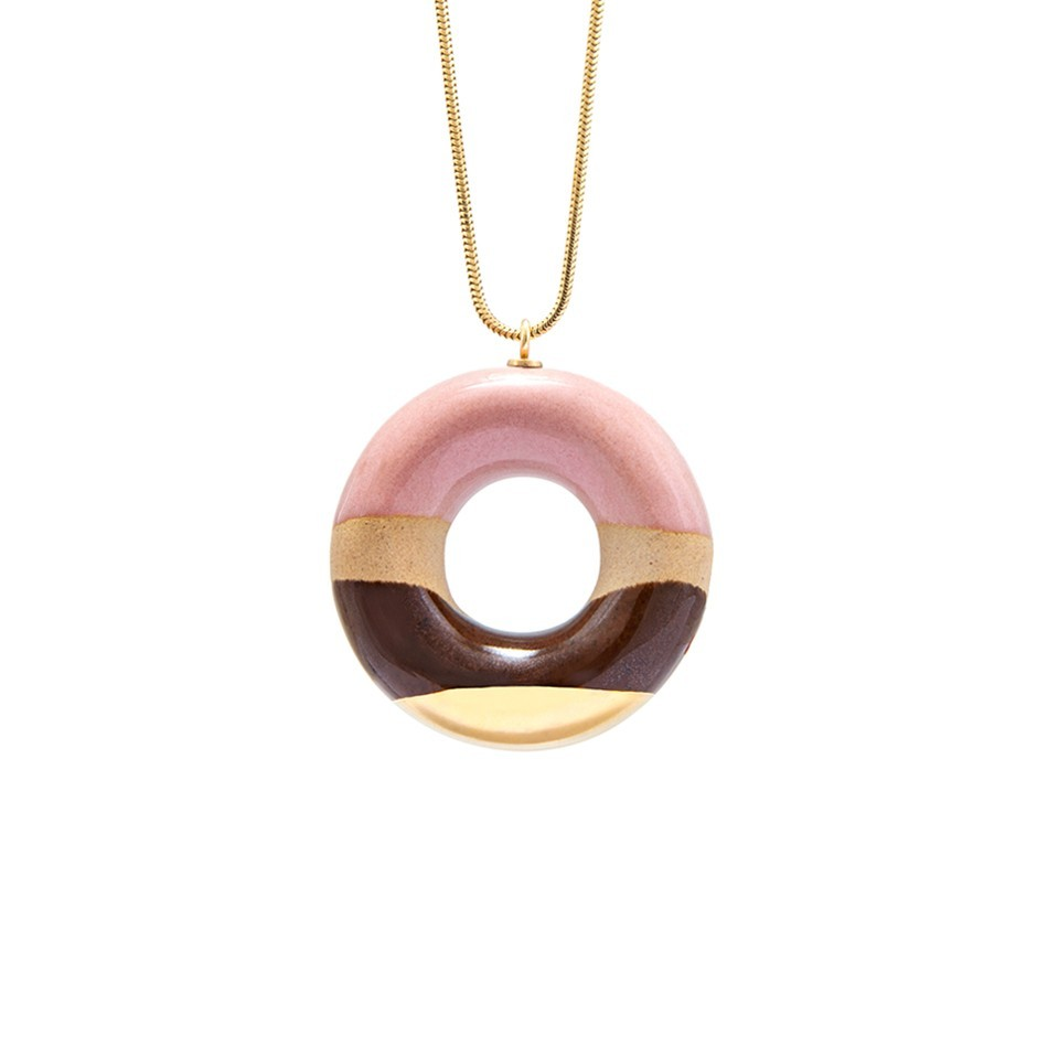 VANILLA DOUGHNUT WITH WILD STRAWBERRY, COFFEE AND GOLD GLAZE––––––SOLD OUT