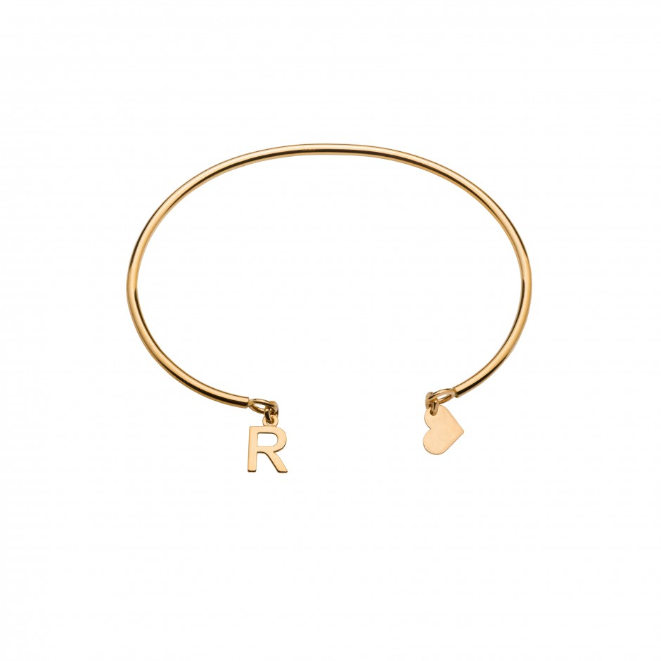 PLAIN BRACELET 'ALPHABET' IN GOLD